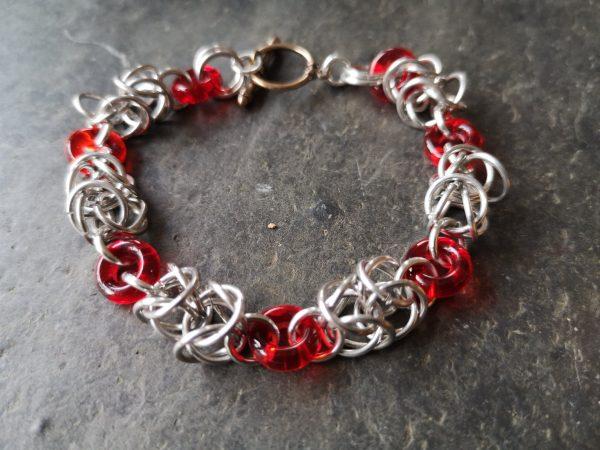 Byzantine Linked Chainmaille Bracelet - CM Byzantine red