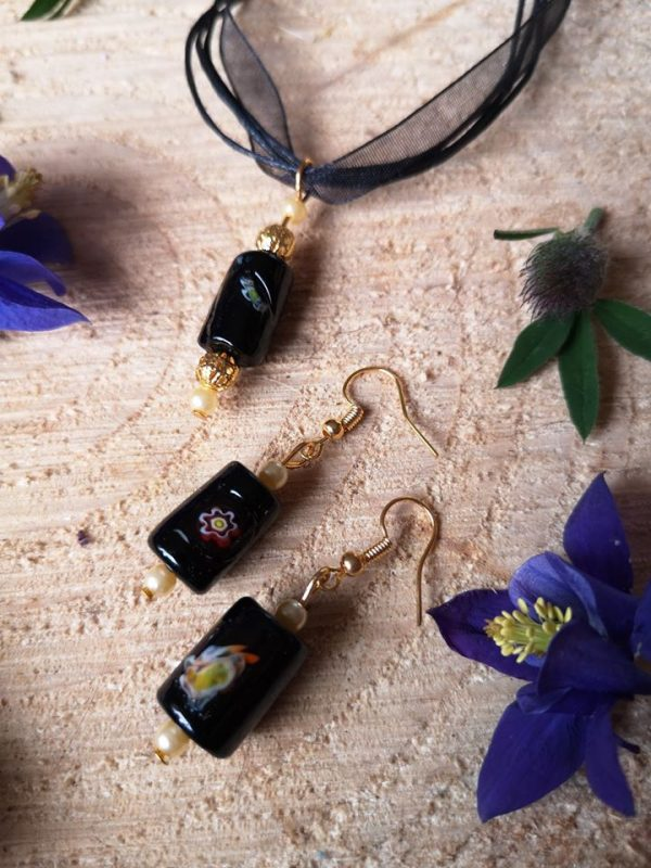 Ribbon Necklace with Glass Pendants - Cylinder Black