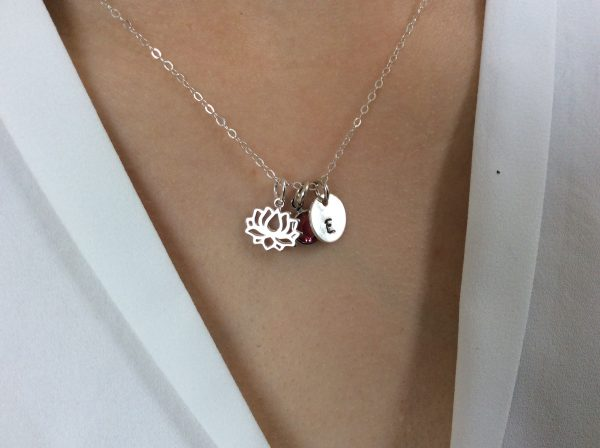 Silver Lotus Flower Personalised Necklace