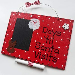 Red Christmas Countdown Plaque