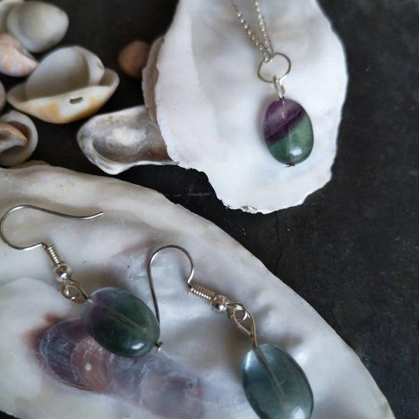Flourite Gemstone Pendant & Earrings - Fluorite