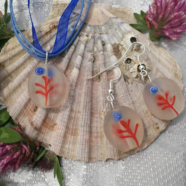 Ribbon Necklace with Glass Pendants - Frosted Flower