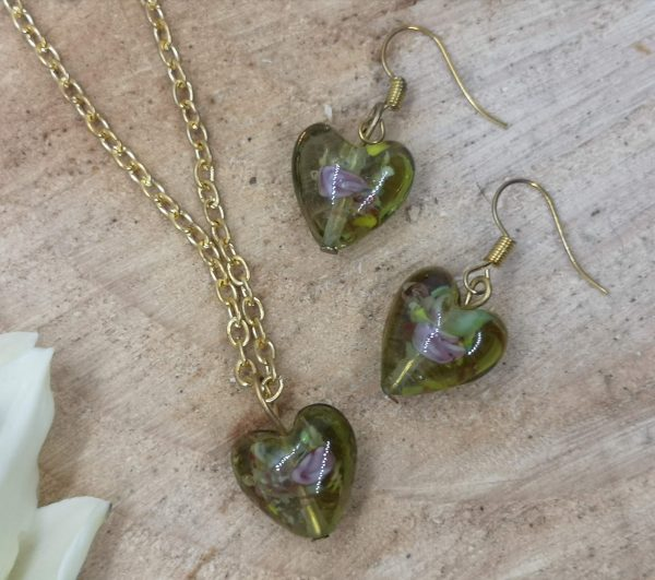 Lampwork Glass Heart Pendant with Matching Earrings - IMG 20200921 140737