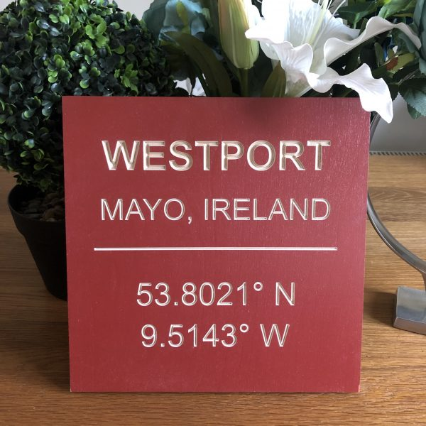 Co-Ordinates Wooden Plaque