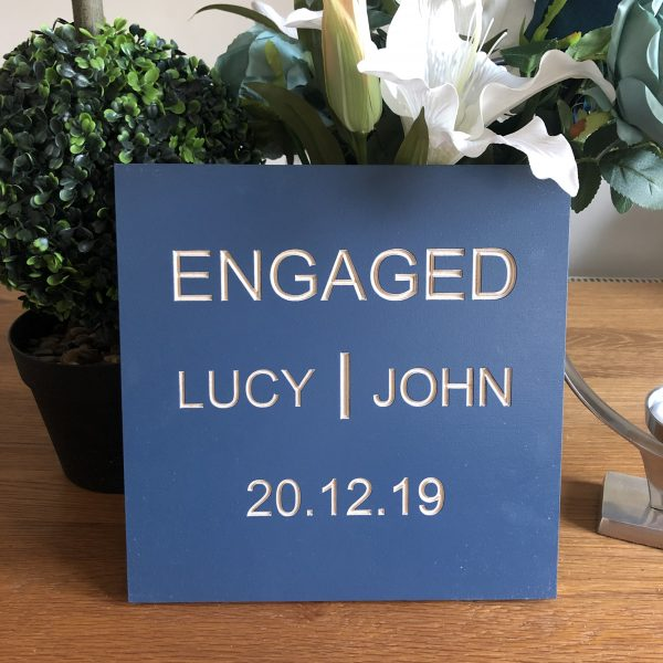 Personalised Engagement Wooden Plaque