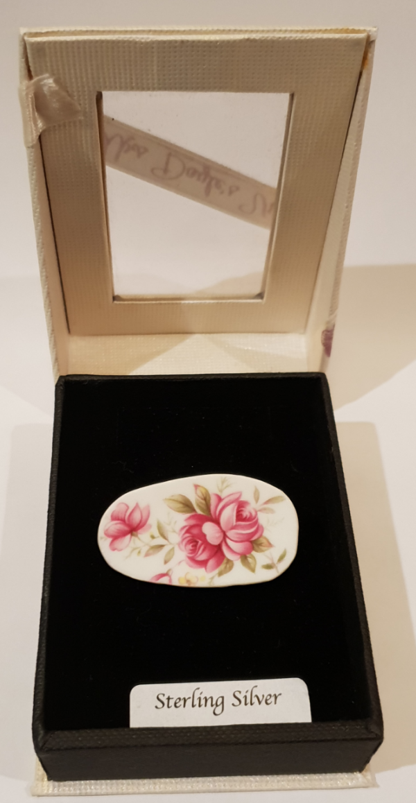 Vintage Bone China Brooch with Vibrant Pink Blossoms
