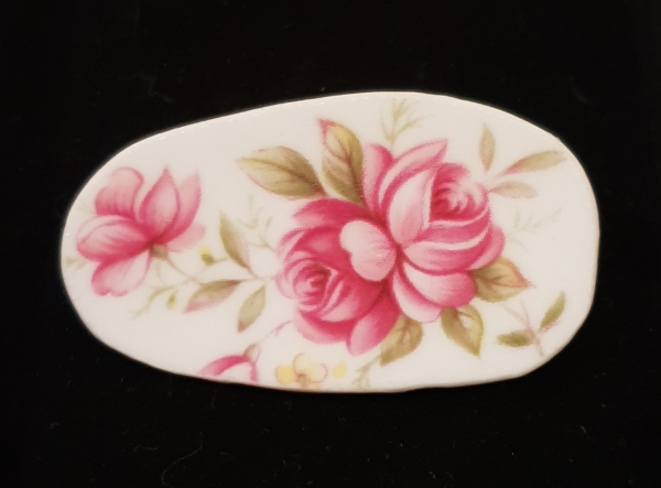 Vintage Bone China Brooch with Vibrant Pink Blossoms - Item 030a