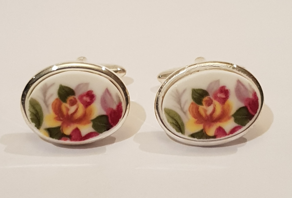 Cufflinks with Vintage Bone China: Yellow Rose - Item 031a