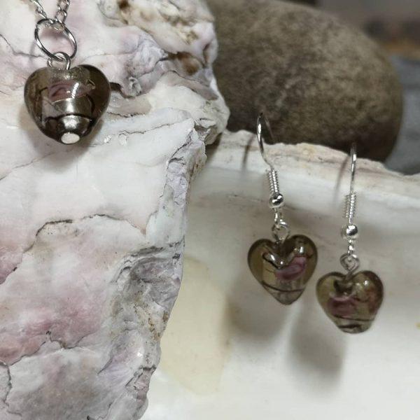 Lampwork Glass Heart Pendant with Matching Earrings - LWG Mini Heart Grey