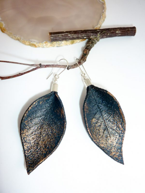 Hand Painted Leather Earrings IV (Navy) - Leather Earrings Handmade Hand Painted by Ertisun 600x800 1