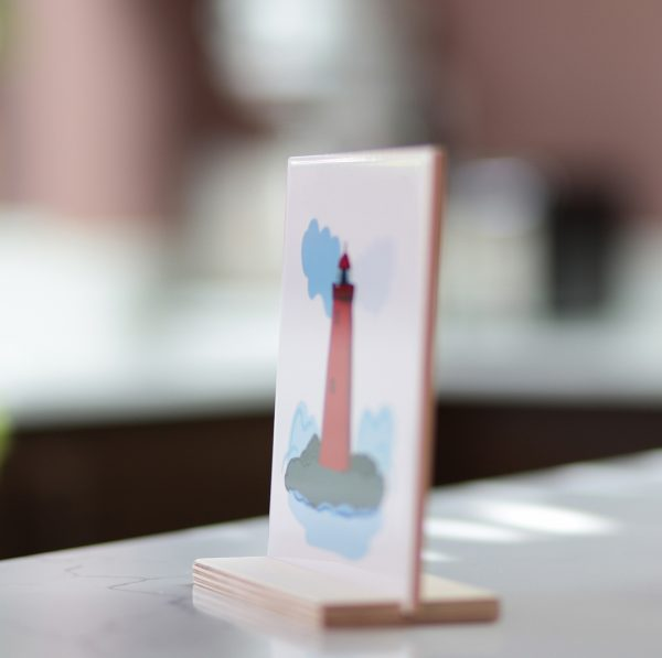 Poolbeg Lighthouse Ceramic Tile - Lighthouse from angle