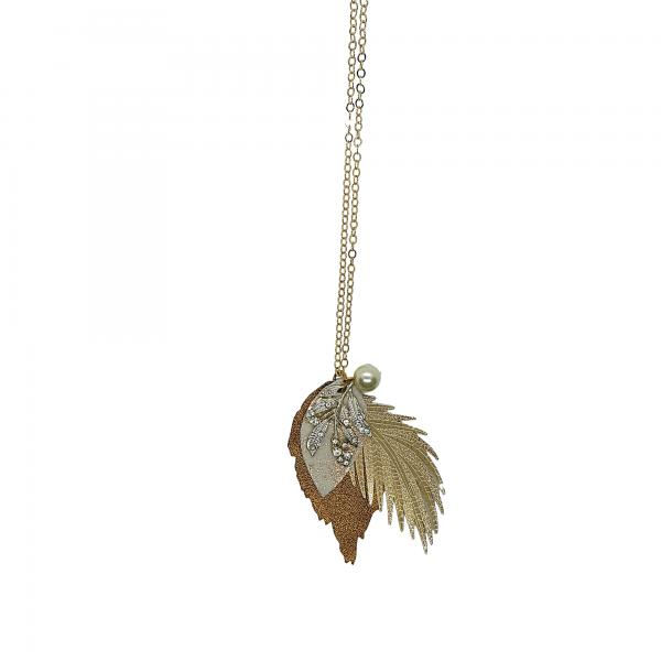 Longline Leather Bronze Leaf Necklace
