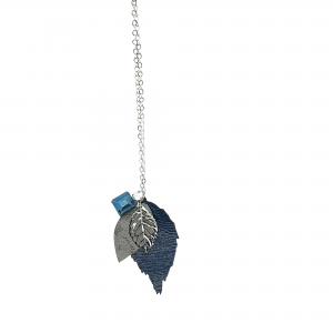 Longline Leather Navy Leaf Necklace Silver