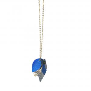 Longline Leather Royal Blue Leaf Necklace