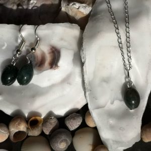 Moss Agate Gemstone Pendant & Earrings