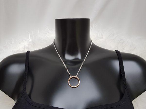 Handmade large rose gold Vermeil hammered ring necklace
