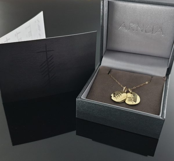 Ogham Initial Pendant - 2 Disc - Ogham Initial Pendant Gold 2 disc boxed card