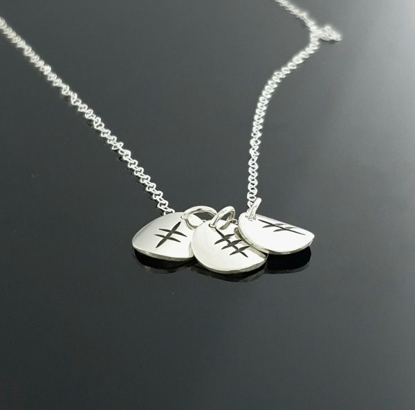 Ogham Initial Pendant - Ogham Initial Pendant   Sterling Silver 3 disc angled