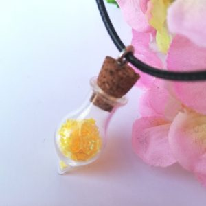 Glass Vial Necklace - Yellow Stars