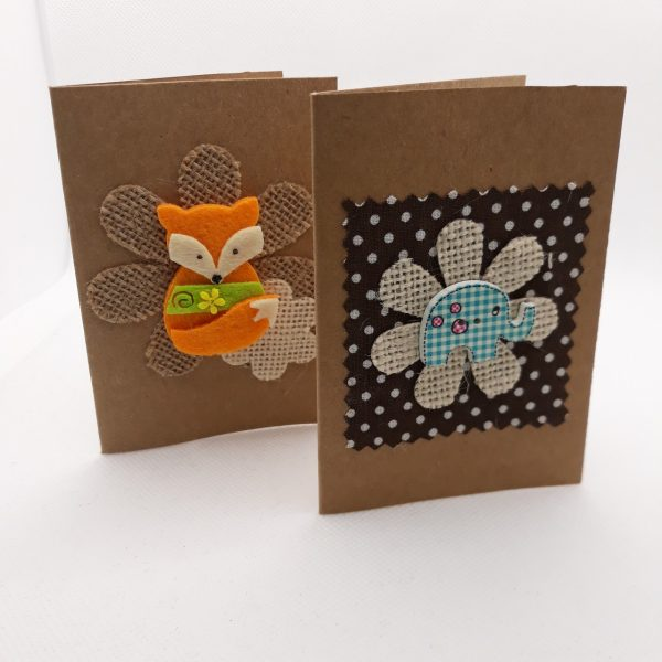 Pack Of 2 Cards - Fox/Elephant
