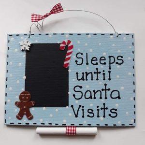 Blue Christmas Countdown Plaque