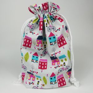 Drawstring Bag with House Design