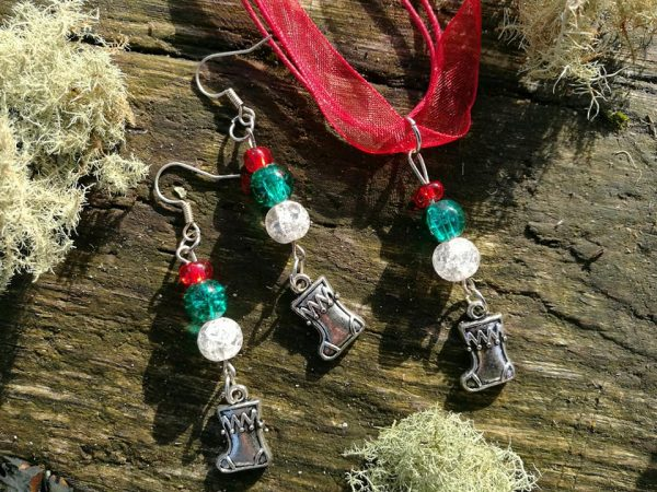 Christmas Ribbon Necklace & Earring Sets - Ribbon Stocking Red
