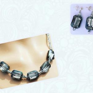 Smokey Grey Crystal Necklace & Earrings Set