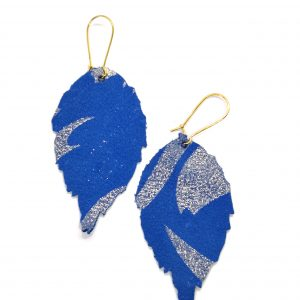 Leather leaf earrings blue patterned