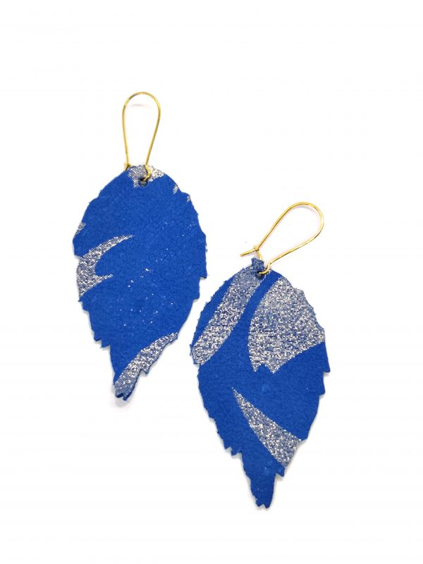 Leather leaf earrings blue patterned