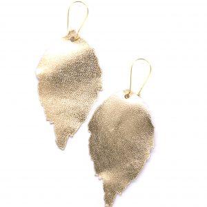 Leather leaf earrings gold