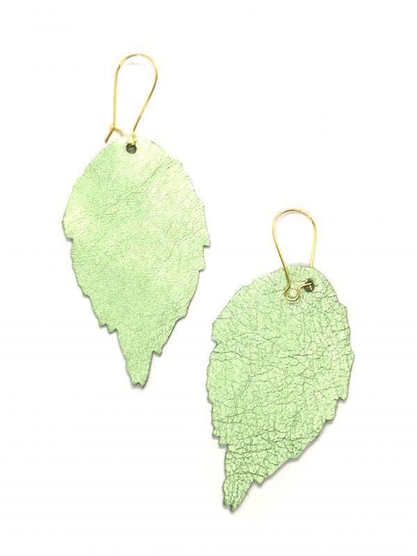 Leather leaf earrings green