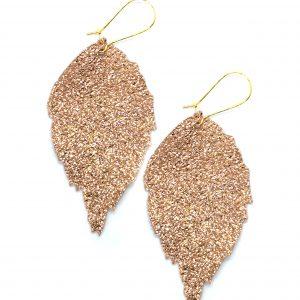 Leather leaf earrings metallic rose gold