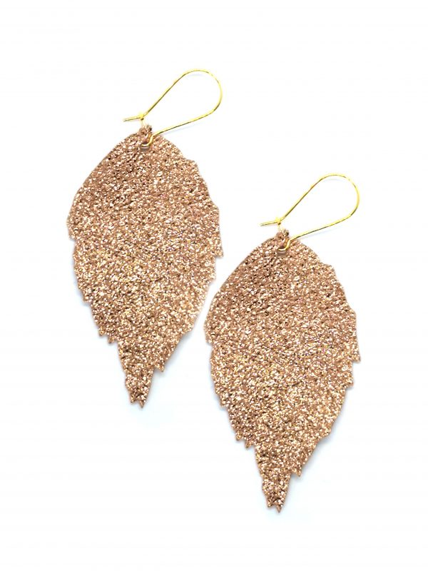 Leather leaf earrings metallic rose gold