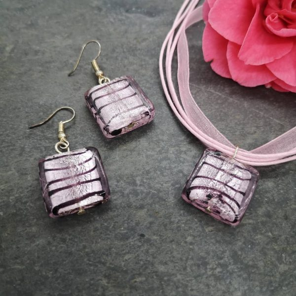 Ribbon Necklace with Glass Pendants - Square Pink