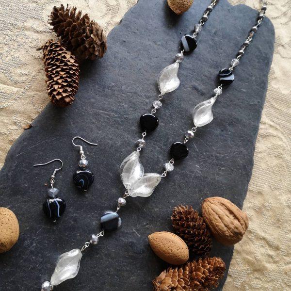 Black Agate & Glass Twist Necklace set