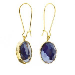 Vintage Looking Glass Royal Blue Earrings