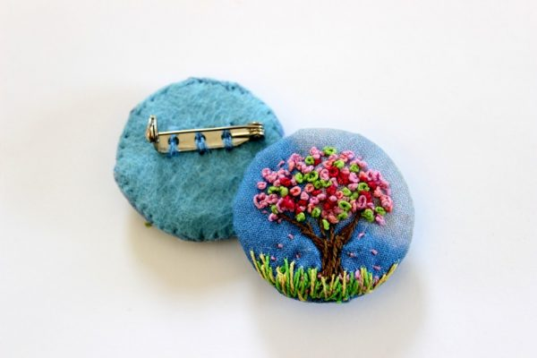 Textile Brooch - Cherry Blossom