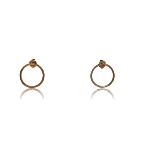 Driftwood Circle Stud Earrings - Rose Gold Plated