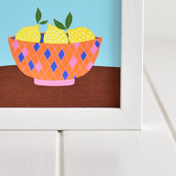 Fruit in a bowl - 4 Framed Giclée Art Prints - fam 5x5 framed lemons bowl 2