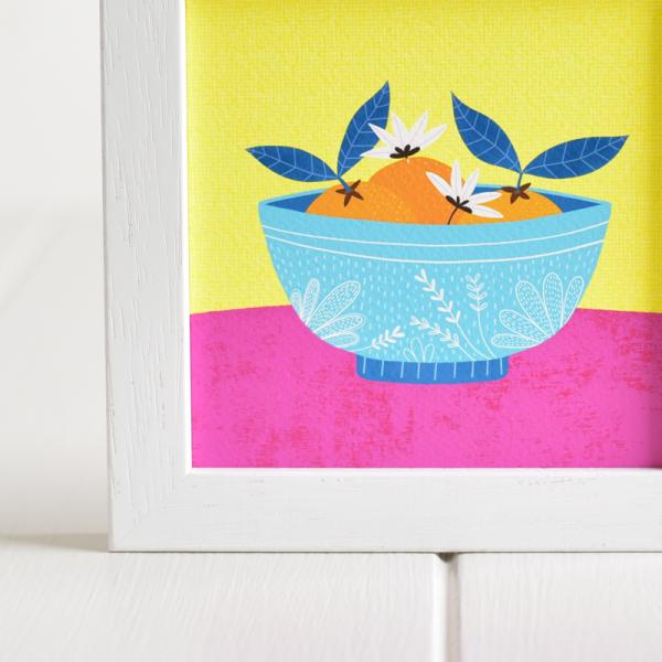 Oranges in a Bowl - Framed Giclée Art Print - fam 5x5 framed oranges bowl 2