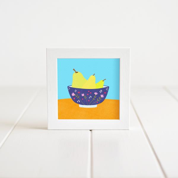 Pears in a Bowl - Framed Giclée Art Print