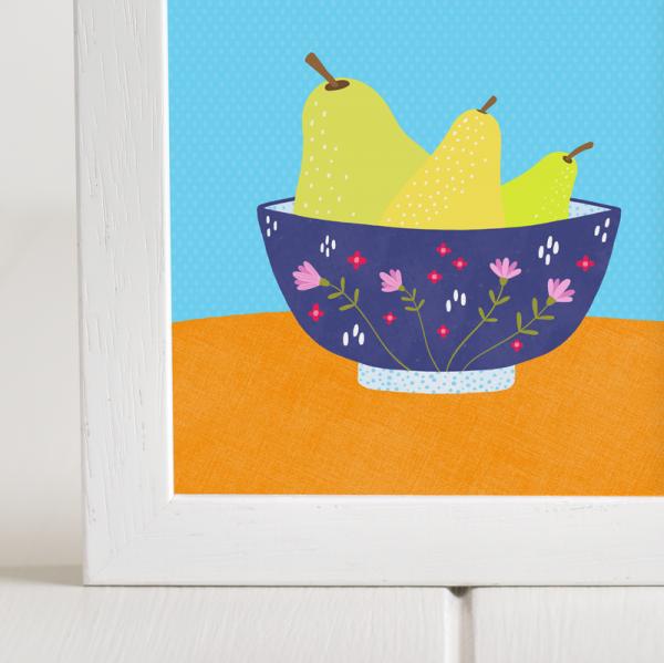 Pears in a Bowl - Framed Giclée Art Print - fam 5x5 framed pears bowl 2