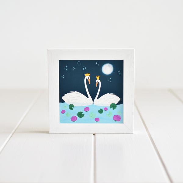 Swans - Framed Giclée Art Print