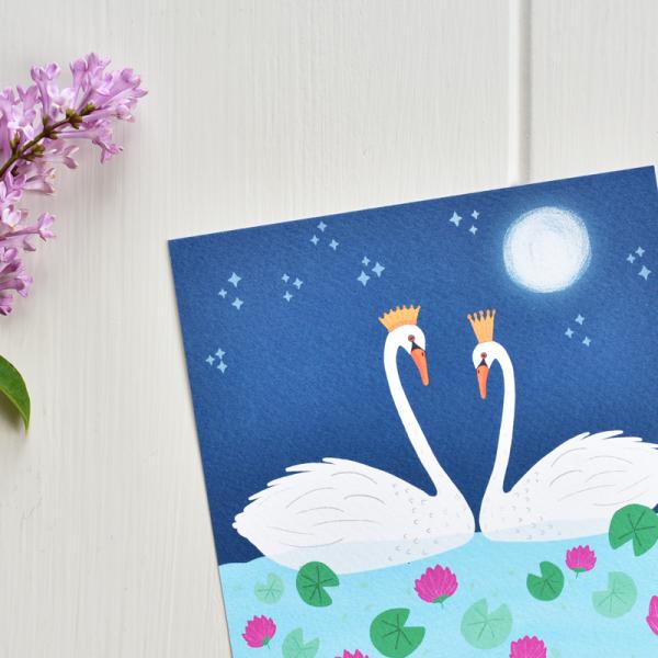 Swans - Framed Giclée Art Print - fam 5x5 framed swans 3