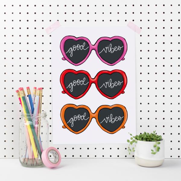 Good Vibes Heart Sunglasses Art Print - good vibes a4
