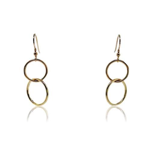 JewelArt Double loop Drop Earrings - Yellow Gold Plated