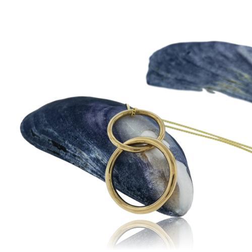 JewelArt Double loop Pendant - Yellow Gold Plated - jewelart double ring pendant gp 1