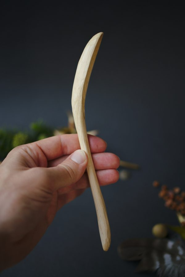 Wooden ramen spoon | Asian soup spoon | Hand carved ash wood | No. 130 - nlk04812