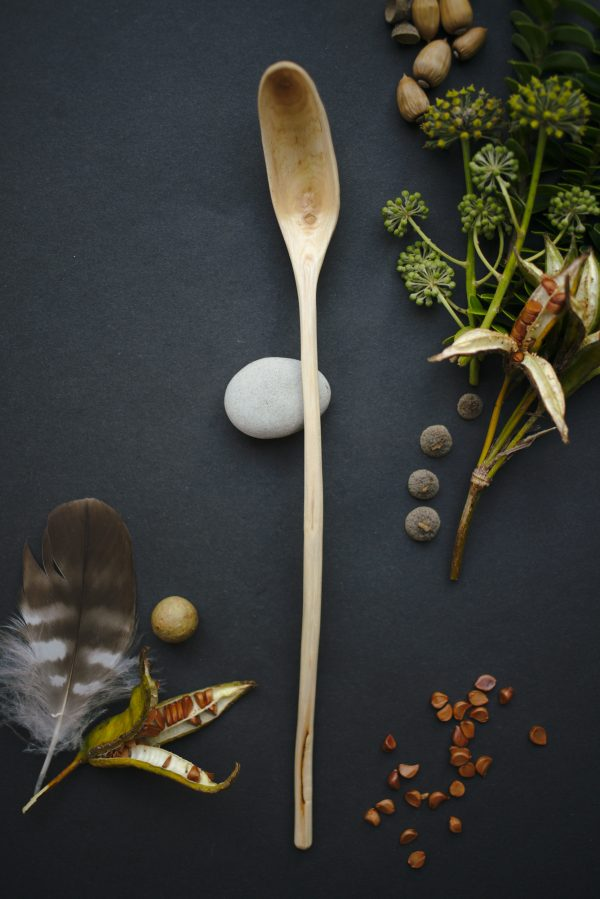 Wooden ladle | Hand carved ash wood | Small scoop | No. 135 - nlk04845